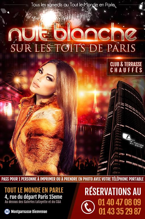 Soirée clubbing Nuit Blanche sur les toits de Paris au TLMP Montparnasse