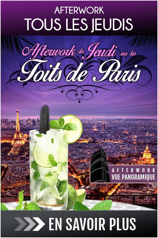Afterwork tous les jeudis soirs : Un jeudi sur les toits de Paris, afterwork mojito, terrasse, vue panoramique